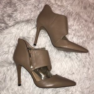 Jessica Simpson Taupe Nude Pointed Heels 6 Zip